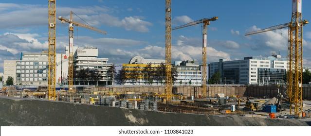 Stuttgart-Vaihingen, Germany - May 3 2018: Construction site of the new Daimler office V
