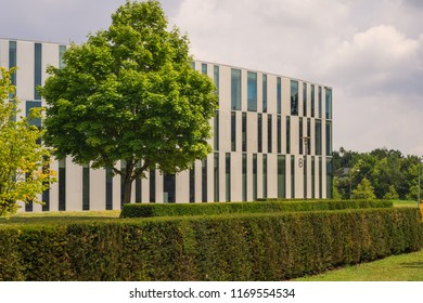 STUTTGART-VAIHINGEN,GERMANY - JULY 22,2018: Campus area This is the modern Library Of Media,which is in Nobelstrasse.