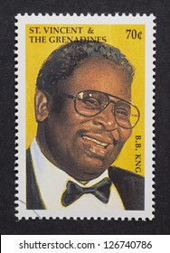 ST.VINCENT AND THE GRENADINES :Â?Â? CIRCA 1999: a postage stamp printed in Saint Vincent and The Grenadines showing an image of B.B. King, circa 1999.