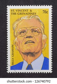 ST.VINCENT AND THE GRENADINES :CIRCA 1999: a postage stamp printed in Saint Vincent and The Grenadines showing an image of Billy Graham, circa 1999.
