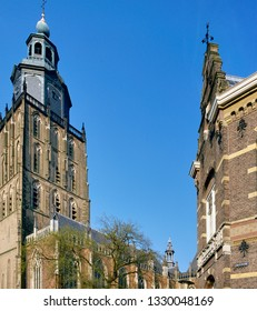 St.Walburgskerk church tower at the s-Gravenhof in the city of Zutphen,The Netherlands. This city is one of the eldest of Holland