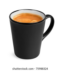 Style big black cup of espresso coffee isolated on withe background