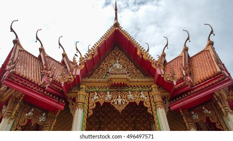 The style and design of top roof for Old Thai Buddhist temple, covered golden construction