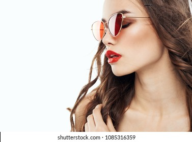 style, fashion, beauty, woman in profile glasses