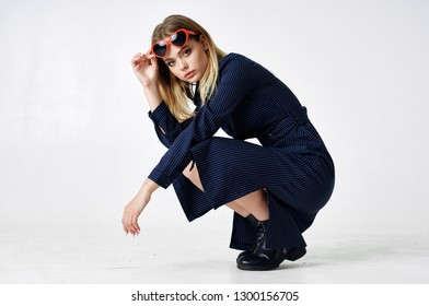 style fashion woman with glasses dress