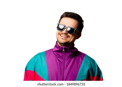 Style man in tracksuit and sunglasses on white background