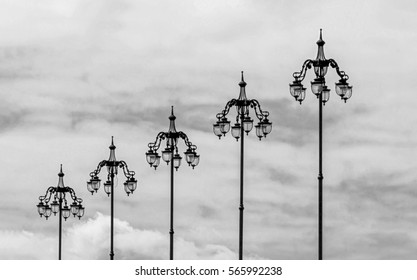The style of old lamps on the bridge near the Moscow Kremlin, Russia
