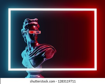 Style statue background neon concept. 3D rendering.