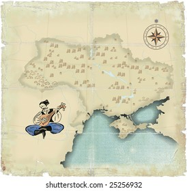 Style under old times of map of Ukraine in modern scopes with playing on the bandura of  Kazakh