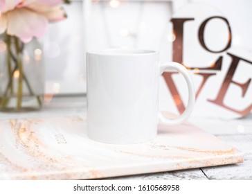 Styled Blank White Mug Stock Photo // Valentines Day Styled Stock Mug // Blank White Mug Mockup // Valentines Day Mug Mockup // Spring Styled Stock Photo
