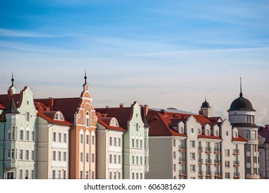 Styled European roofs and colored facades of vintage houses in Kaliningrad, Russia