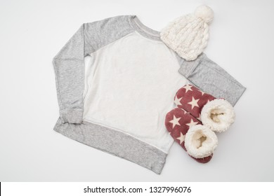 """Styled Stock Photography """"Baby, it's Cold Outside"""", Mockup-Digital File, Gray and White Women's Long Sleeve Shirt/Sweatshirt Mock Up"""