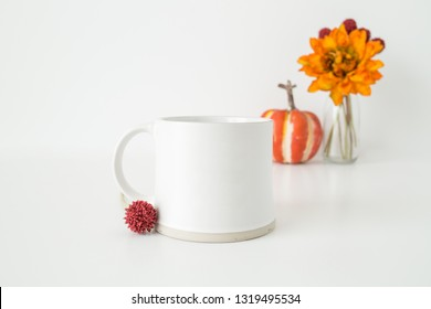 """Styled Stock Photography """"Give Thanks"""", Mockup-Digital File, White Coffee Mug with Pumpking and Fall Flowers Mock Up."""