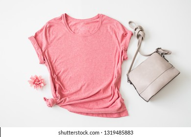 "Styled Stock Photography ""Heather"", Mockup-Digital File, Pink Women's T-shirt with Purse and Flower Mock Up"