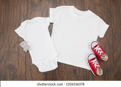 """Styled Stock Photography """"Sibling Love"""", Mockup-Digital File, White Kid's T-shirt with White Baby Onesie. Gender Neutral Mock Up"""