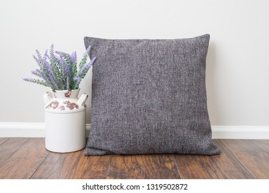 "Styled Stock Photography ""Style"", Mockup-Digital File, Gray Pillow with Flower Decor Mock Up"