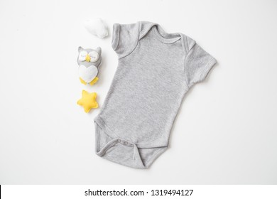 "Styled Stock Photography ""Twinkle Twinkle"", Mockup-Digital File, Gray Baby Bodysuit with Owl Decor, Gender Neutral Mock Up"