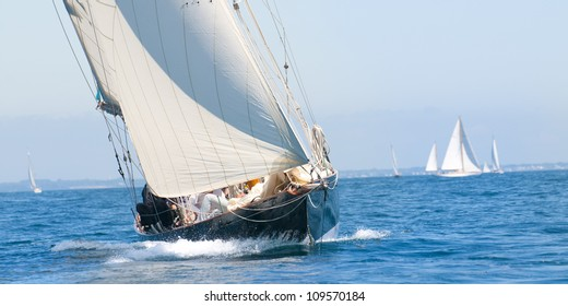 styling retro yacht sailing in the sun in summer