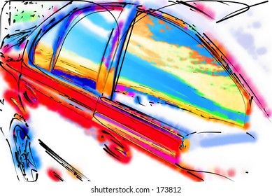 Stylised illustration of the side of a car...
