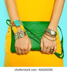 Stylish Accessories. Bag and Jewelry. Bright Summer Colors.