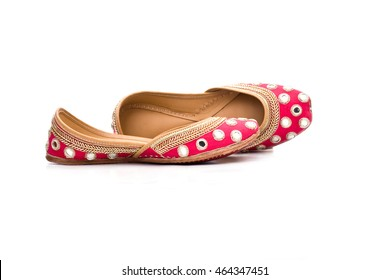 stylish amritsari juti shoe with vibrant pink color