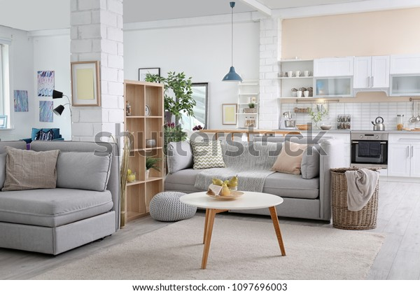 Stylish apartment interior with modern kitchen. Idea for home design