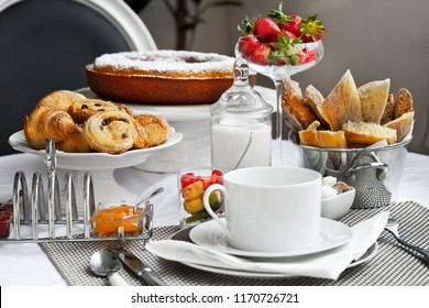 Stylish and appetizing French breakfast on a table