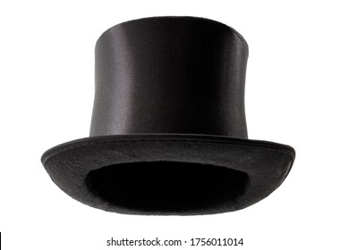 Stylish attire, Vintage men fashion and magic show conceptual idea with victorian black top hat with clipping path cutout in ghost mannequin technique isolated on white background