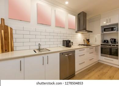 Stylish Australian kitchen interior with modern new appliances
