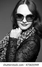 Stylish Autumn lady, black and white