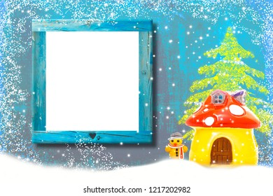 Stylish background with empty wooden frame and gingerbread man house in snowflakes on blue backdrop