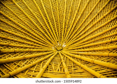 Stylish bamboo made ceiling design unique stock photo