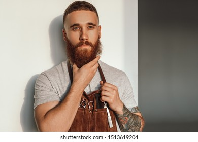 Stylish barber in apron looking at camera and stroking ginger beard while working in modern hairdressing salon