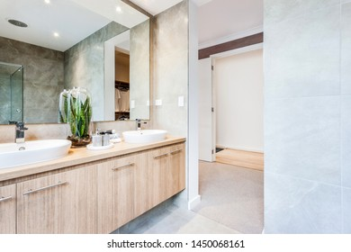 A stylish bathroom with dual faucet and sink with attached cabinets, a small planter and a big beautiful mirror.