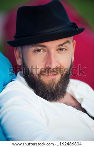 Stylish Bearded Man Hats Mens Style Stock Photo (Edit Now ... 284b78ede81