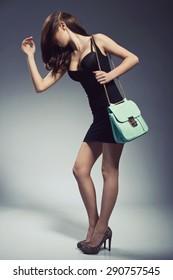 Stylish beautiful brunette woman wearing black dress holding nice handbag. Fashion picture