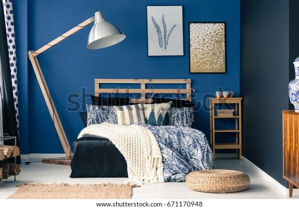 Stylish Bedroom Interior Dark Blue Wall | Interiors Stock Image