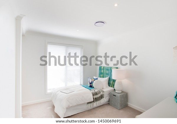 Stylish Bedroom White Walls White Bed Stock Photo Edit Now 1450069691