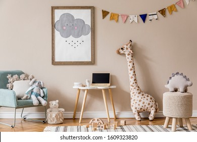 Stylish and beige scandinavian decor of kid room with mock up poster frame,  design furnitures, natural toys, hanging colorful flags, plush animal and child accessories and teddy bears. Home decor.