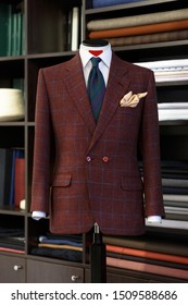 Stylish bespoke checkered jacket. Men's jacket on a mannequin. Men's Clothing