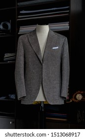 Stylish bespoke grey jacket. Men's jacket on a mannequin. Men's Clothing