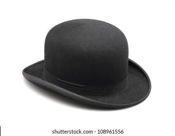 A stylish black bowler hat