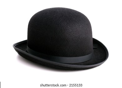A stylish black bowler hat - isolated with clipping path