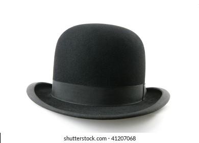 A stylish black bowler hat - isolated on white background