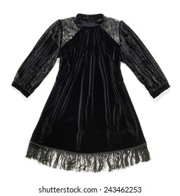 Stylish black dress with a fringe at the hem and high necked collar in a luxurious gathered fabric, isolated on white