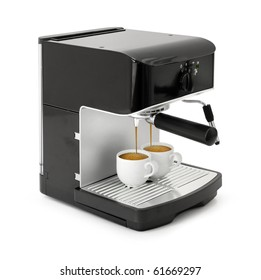 Stylish black espresso making machine brewing two cups of coffee, isolated on white background
