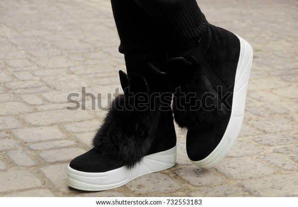 Stylish Black Suede Boots Fur Funny Stock Photo (Edit Now