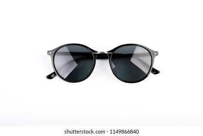 Stylish black sunglasses isolated on white background.