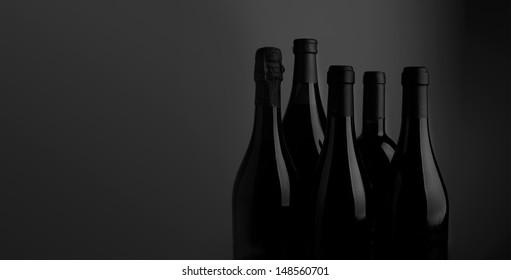 Stylish black and white wine bottles