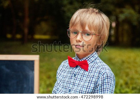 b596c4700d Stylish Blond Little Boy Glasses Back Stock Photo (Edit Now ...